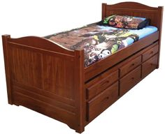 Manly Single Captains Bed Pecan - Awesome Beds 4 Kids