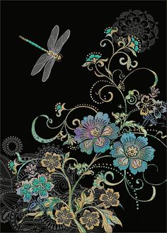 Dragonfly Vine by Jane Crowther. Bug Art greeting cards.