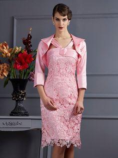 Sheath/Column Halter Sleeveless Lace Short Elastic Woven Satin Mother of the Bride Dresses