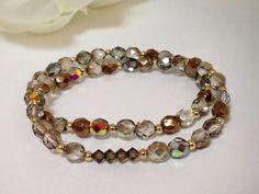 Amber Swarovski Crystal and Faceted Beads, Women's Bracelet, Stretch bracelet, stackable bracelet, on Etsy, $24.50