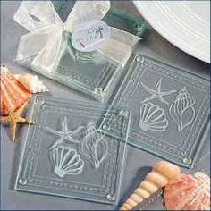 Elegant beach-themed, clear glass coaster favor set includes 2 coasters with white design of 2 shells and a starfish within graceful wavy border design. See our Beach and Sea theme for many more beach-themed favors and place card holders. Beach Wedding Reception, Beach Wedding Favors, Unique Wedding Favors, Bridal Shower Favors, Unique Weddings, Wedding Gifts, Wedding Ideas, Trendy Wedding, Wedding Planning