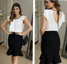 White summer blouse with frills, tucks and round neck in front using black binding that ties at the back with low V Office Fashion, Work Fashion, Modern Fashion, Fashion Looks, Casual Chic, Casual Outfits, Fashion Outfits, Womens Fashion, Mode Hijab
