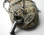 Heart Vintage Key Necklace Love Engaged Taken  -  Spoken For