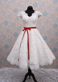 New fashion 2013 Short sleeve Lace Knee-length Wedding Dress With Sashes Bridal Dress1950s Short Style Vintage 1960 50s ONSALE $183.50