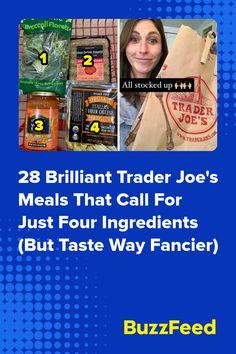 28 Brilliant Trader Joe's Meals That Call For Just Four Ingredients (But Taste Way Fancier) Breaded Chicken, Chicken Sausage, Chicken Pasta, Harissa Chicken, Teriyaki Chicken, Beef Fried Rice, Spinach Artichoke Pasta, Jalapeno Sauce, Salad Kits