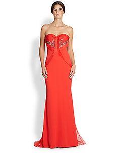 GOWNS~~ Badgley Mischka Strapless Stretch-Silk Gown @Saks Fifth Avenue