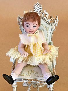 Vintage 1980s Dollhouse Doll Child Little Girl Brunette 1:12 Sculpted Porcelain #ArtisanCrafted