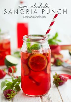 Easy Sangria Punch Recipe without the alcohol. A perfect drink idea for the summer! Easy Alcoholic Punch Recipes, Non Alcoholic Sangria, Sangria Recipes, Non Alcoholic Drinks Mexican, Detox Recipes, Drink Recipes, Holiday Drinks, Summer Drinks, Summer Sangria