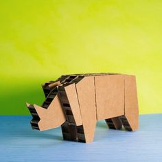 1001_rhino_carton_1 Animal Logo, Dining Area, Cube, Arts And Crafts, Toy Art, Toys, Animals, Recycled Furniture, Recycling