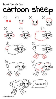 How to draw Cartoon Sheep. Easy drawing, step by step, perfect for kids! Let's draw kids. http://letsdrawkids.com/