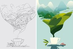 Creation of an opening illustration for an article about our love of Tea, its historical and cultural importance with British culture. Illustration Arte, Flat Design Illustration, Simple Illustration, Landscape Illustration, Graphic Design Posters, Graphic Design Inspiration, Illustrator Tutorials, Grafik Design, Illustrations And Posters