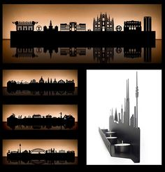 Cologne-based Radius Design and Michael Rösing have accurately laser-etched arrangements of landmarks and architecture from various cities such as Paris, Sydney, London, Vienna, Milan and New York.