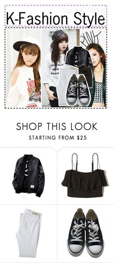 """""""tip / lacey"""" by meraki-creations ❤ liked on Polyvore featuring WithChic, Hollister Co., AG Adriano Goldschmied, Converse, kpop and kfashion"""