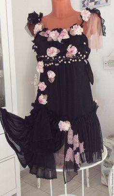 """Купить Авторское платье """"Ампир"""". - черный, цветочный, авторское платье, платье ручной работы"""