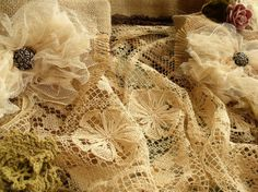 Shabby French Rustic Chic Balloon Burlap Lace by BetterhomeLiving