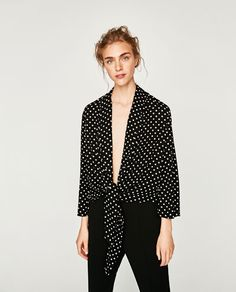 Image 2 of POLKA DOT BLAZER WITH BOW AT THE WAIST from Zara