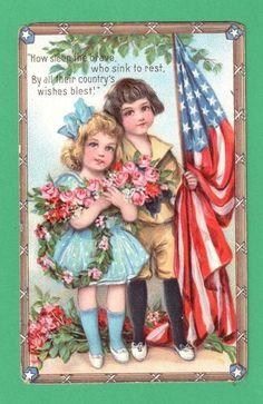 VINTAGE FRANCES BRUNDAGE PATRIOTIC POSTCARD CHILDREN ROSES AMERICAN FLAG