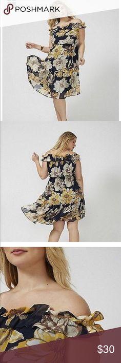 Lane Bryant off shoulder dress 22/24 Preowned- ruffle at shoulder and hem- floral pattern- great without or without belt Lane Bryant Dresses Midi