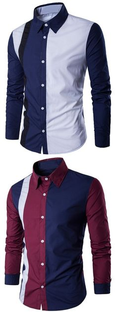 Slim-Fit Two Tone Long Sleeve Shirt
