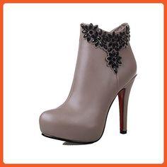 d8f9dd4211a AllhqFashion Women s High-Heels Round Closed Toe Pu Zipper Boots