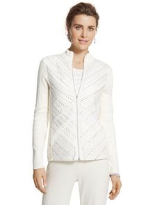 Chico's Zenergy Cotton Cashmere Sequin Quilted Jacket #chicos #chicossweeps
