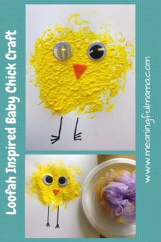 Easy Spring Chick Craft for Kids – Meaningful Mama Easy Spring Chick Craft for Kids Loofah Inspired Baby Chick Craft Farm Animal Crafts, Farm Crafts, Animal Crafts For Kids, Daycare Crafts, Kids Daycare, Easter Activities For Kids, Easter Crafts For Kids, At Home Crafts For Kids, Dinosaur Activities