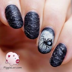 Matte Black and White Spiders Halloween Nail. Halloween Nail Art Ideas.