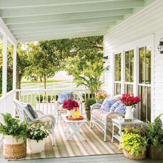 7 outdoor-style ideas to steal. Bring indoor comforts outside: Small-scale white wicker seating pieces were purchased at Pier 1 Imports that wouldn't overpower the small back porch. In warm weather, furnish your outdoor space as you would an indoor living area: bring out cozy pillows and comfy rugs made of weather-resistant materials. via @southernliving