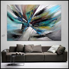 Art ORIGINAL peinture abstraite turquoise Turquoise blanc