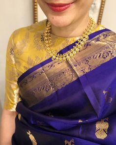 Pattu Saree Blouse Designs, Designer Blouse Patterns, Fancy Blouse Designs, Bridal Blouse Designs, Stylish Blouse Design, Contrast, Kanjivaram Sarees, Boat Neck, Ethnic