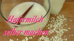 Hafermilch - Rezept von Lila Kuchen Cooking Timer, Glass Of Milk, Mayonnaise, Pudding, Desserts, Food, Youtube, Vegan Milk, Purple Cakes