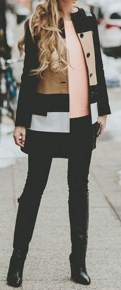 #winter #fashion / pattern print coat + pink