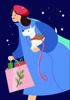 Christmas shopping, Christmas card, scotish terrier, illustration by Jasmijn Solange Evans Christmas Shopping, Cinderella, Terrier, Christmas Cards, Disney Characters, Fictional Characters, Disney Princess, Illustration, Art