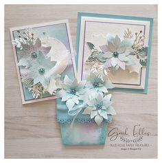 Blue Rose Paper Treasures Stamped Christmas Cards, Stampin Up Christmas, Xmas Cards, Handmade Christmas, Holiday Cards, Poinsettia Cards, Christmas Poinsettia, Poinsettia Wreath, Crochet Christmas