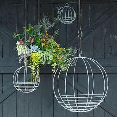 Vintage Hanging Orb Flower Planters