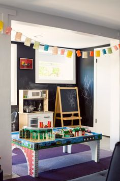 playroom with chalkboard wall and Ikea kids items #littlenest #pinparty
