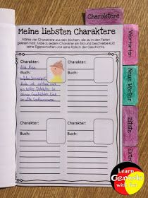 Lesemotivation Charaktere Bullet Journal, Learning, Great Books, Learn German, Primary School, Tips And Tricks, Studying, Teaching, Onderwijs