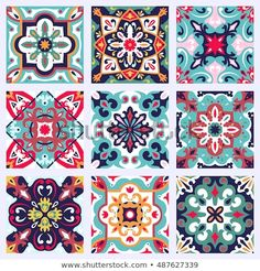 Set with Beautiful seamless ornamental tile background. Vector illustration can be used for desktop wallpaper or frame for a wall hanging or poster, for pattern fills, surface textures, textile – Buy this vector at Shutterstock and find other images. Tile Art, Tiles, Protest Posters, Deco Boheme, Illustration, Dot Painting, Tile Patterns, Islamic Art, Pattern Design