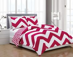Chezmoi Collection 3-piece Zig Zag Comforter Bedding Set (King, Pink