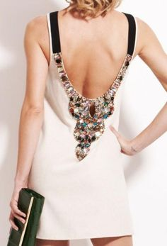 omg i need this low back dress with jewels.