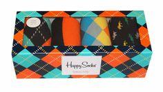 Happy Socks Blue Orange Argyle Men's Dress Socks Gift Box 4 Pack