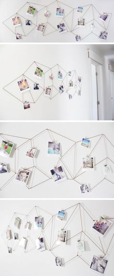 Geometric Photo Display diy diy ideas diy crafts do it yourself crafty geometric… - Best DIY Dekoration Polaroid Display, Polaroid Cameras, Polaroids, Polaroid Pictures Display, Display Pictures, Photowall Ideas, Diy Room Decor, Wall Decor, Diy Wall