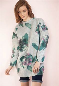 longline jumper with painted flowers