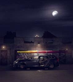 Street, Night Stripped car / CREATIVE RETOUCH by Tommy Olsson, via Behance