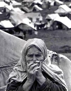 """Nakba (""catastrophe"" in Arabic) of 1948, is when Palestinians were ruthlessly attacked, massacred and driven from their homes into refugee camps by Zionist terror groups, and never allowed to return in violation of international law."""
