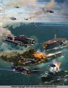 The Battle of Midway - The Battle of Midway was fought over U. mid-Pacific base at Midway atoll. This battle was between U. And Japan. Military Art, Military History, Aircraft Painting, Airplane Art, Naval History, Navy Ships, Aviation Art, World War Two, Wwii