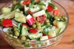 A simple summer salad recipe of just vegetables and herbs is light and filling without mayonnaise.