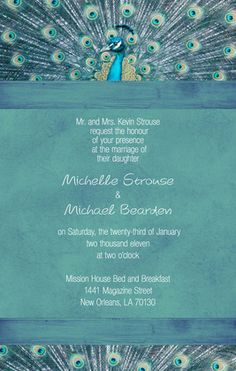 Colorful Feathers Peacock Theme Wedding Card Peacock theme