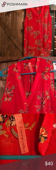 Eight sixty sheer sleeveless tank small Eight sixty sheer floral top. Sleeveless. Button down. Super cute! Long in the back. Would be super cute with tights. Purchased from lord and Taylor. EUC like new!   From a smoke free home Eight Sixty Tops Blouses