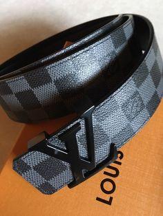 257c51d2b352 LOUIS VUITTON LV Damier Graphite Mens Belt Size 95-38 Fits 32-36 NWOT